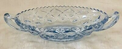 American Brilliant Cut Glass Blue Oval Relish Candy Dish Sawtooth Pinwheel