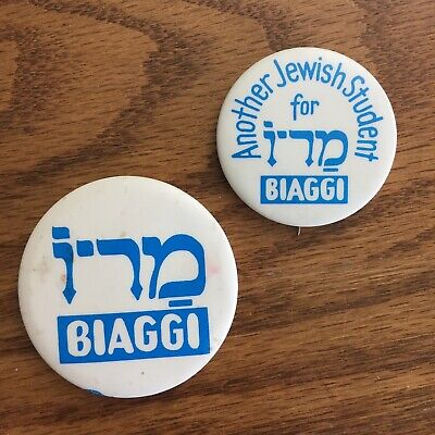 1973 MARIO BIAGGI - NYC MAYOR - JEWISH HEBREW - political campaign buttons pins