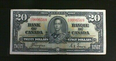 1937 Bank Of Canada  ($20.00 ) Twenty Dollar Banknote Coyne Towers