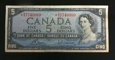 1954 Bank Of Canada  ($5.00 ) Five Dollar Banknote Bouey Rasminsky Asterisk *Rx