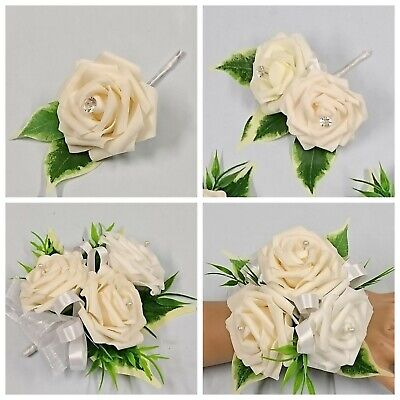 Wedding Flowers, Single Rose with Ficus leaf Buttonhole, Silver