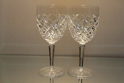 """Two (2) Waterford Signed Crystal Comeragh Cut 7"""" Water Glass Goblet Mint"""