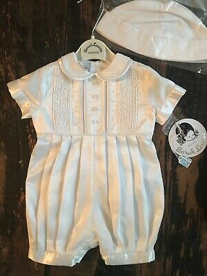 Sarah Louise 3 Months Boys Christening Baptism Short One Piece Outfit W/hat NWT