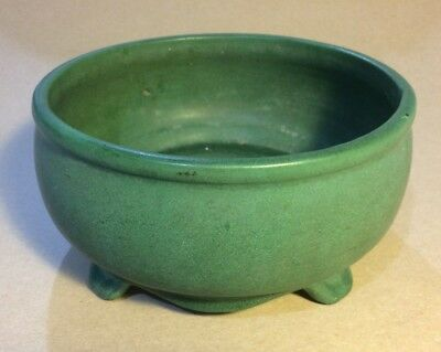 "Green Art Pottery Four Footed Bowl Arts & Crafts 8 3/4"" diameter x 4 1/4"" high"