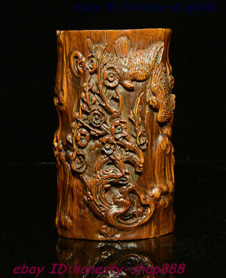 Antique Old Chinese Boxwood Wood Flower Bird Pen Container Brush Pot Pencil Vase