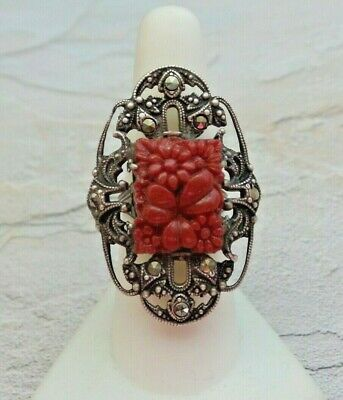 1920's Art Deco Sterling Silver CZECH Glass Marcasite Ring Sz 7