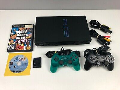 Sony PlayStation 2 Black Console Fat Bundle /w 2 Controls, Memory, 2 Games: GTA