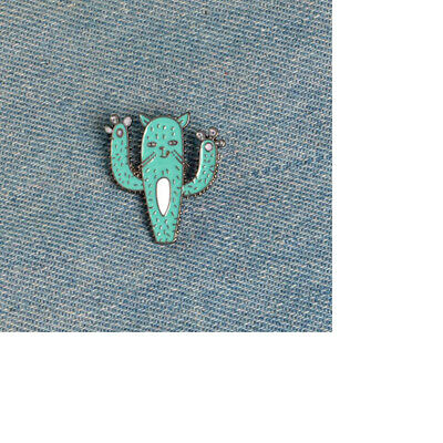 Fashion Lovely Cactus Cat Enamel Badge Collar Pin Corsage Brooch Jewelry SO