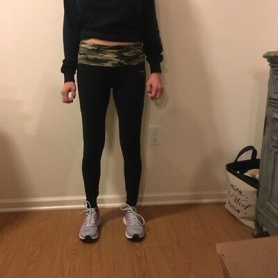 Susan Komen camouflage black leggings with fold over waistband and pink ribbon