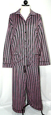 Woman's Ak Anne Klein Black Pink Soft Warm Fleece 2Pc Pj Pajamas   Set Sz Xxl