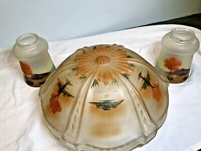 Three Piece Vintage Reverse Painted Large Glass Globe Lamp Shades