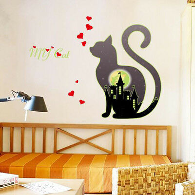Wall Decals Kitten Pattern Wall Stickers Removable Luminous Bedroom Supplies SO