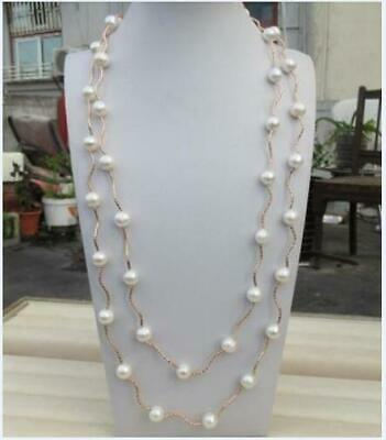 New Huge AAA south sea 9-10mm white pearl necklace 50 inch Long 14k Yellow Gold