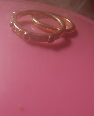 2 Rings Amethyst stones faux gold /plated faux antique- Estate-2 post FREE