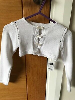 BNWT Baby Girls White Cropped Cardigan 6-9 Months