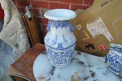 vintage blue and white Chinese Porcelain Vase  hand painted