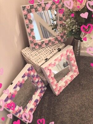 Custom Made Hollywood Light Up Floral Mirror For Dressing Table