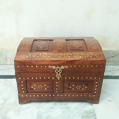 Antique rosewood Vintage Box Beautiful Brass Carving