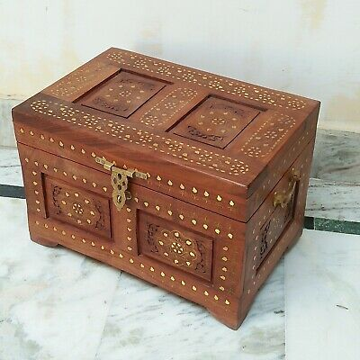 Antique rosewood Vintage Box Beautiful Brass Carving home decor