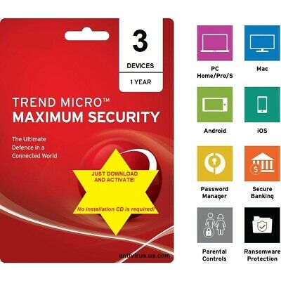 Trend Micro Maximum Security 2019 (1 Year - 3 Windows, Mac, Android Devices)