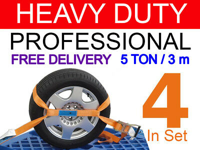 Recovery 4 in SET STRAPS RATCHET Car Transporter HI-VIS ORANGE 5 ton 3 m x 50 mm