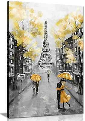 Yellow Black & White Paris Painting Canvas Wall Art Picture Print 24x16