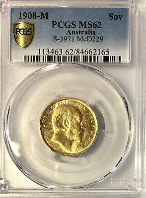 Gold Sovereign 1908 Melbourne ( M ) PCGS Slabbed & Graded MS62, High Grade Coin.