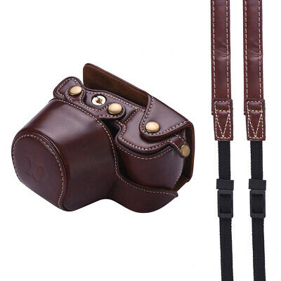 PU Leather Camera Case Bag with Camera Shoulder Strap for Sony Alpha A6300 P2Q3