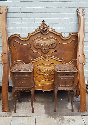 French hand carved walnut/ oak double bed with two matching granite top bedside