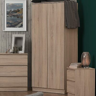 Sonoma Light Oak 2 Door Double Wardrobe.Modern No-Handle Design.Oak Bedroom.