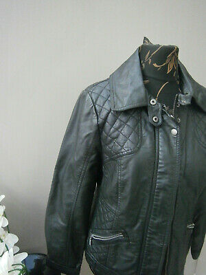 Wallis Ladies Black Faux Leather Biker Style Jacket-size 14 Coats, Jackets & Vests
