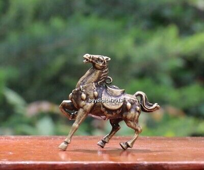 4 cm Chinese Pure Bronze Zodiac Animal Amulet Beast Horse equine Wealth Pendants