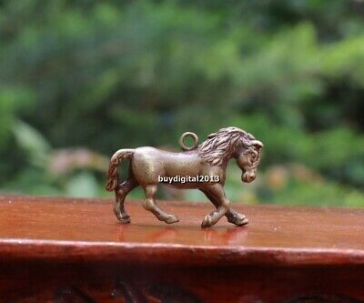 3 cm Copper Bronze Chinese Zodiac Animal Equine Horse Sculpture Amulet Pendant