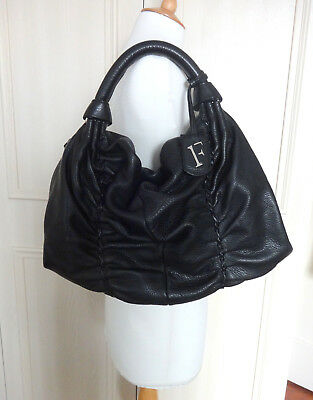 Furla Large Hobo Style Black Leather Bag - Mint Condition