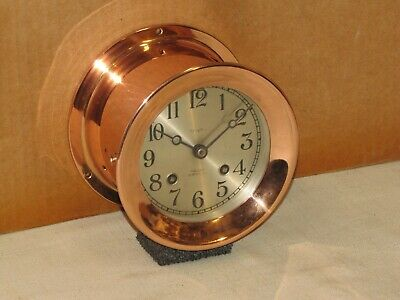 Chelsea Antique Ships Bell Clock~4 1/2 In Dial~1928~Red Brass~Restored