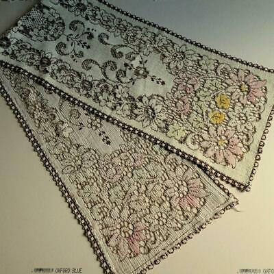 Good Vintage/Retro  Hand Tinted Crocheted Lacy Style Table Runner c1970's