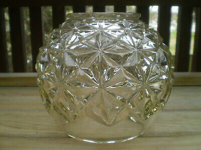 Vintage Diamond Cut Clear Glass  Lamp Shade/Light Fixture