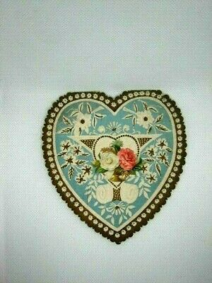 Vintage Victorian Valentine Card Shaped In A Heart w/ Die Cut Bouquet of Roses