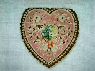 """Vintage Victorian Valentine Card Shaped In A Heart w/ Die Cut """"Forget Me Not"""""""