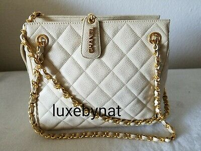 a4ffe0bbb29a75 NWT CHANEL QUILTED Gold Chain Flapbag Leather Crossbody Handbag ...