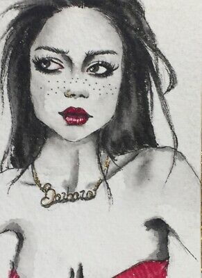 Original ACEO painting. Cute girl face in black&white portrait by Viviana Scala