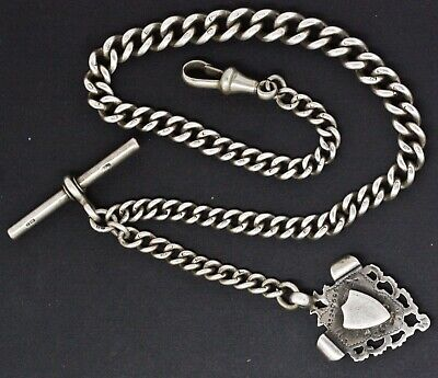 """ANTIQUE SOLID SILVER ALBERT POCKET WATCH CHAIN William Hair Haseler Fob 13"""""""