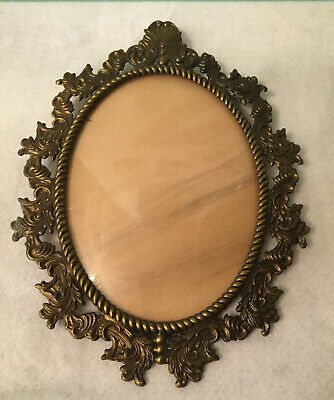 Antique Vtg Victorian Italy Oval Ornate Metal Picture Photo Frame 8 3/4 X 6 3/4