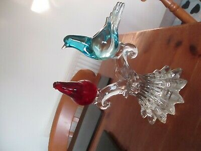 Large Stunning Solid Glass Bird Ornament