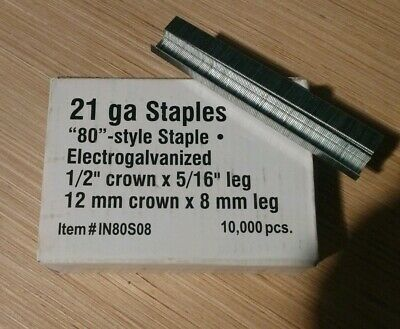"1/2"" Crown x 5/16"" Leg Staples (Pack of 10,000) 21 ga. 12 mm crown x 8 mm leg"