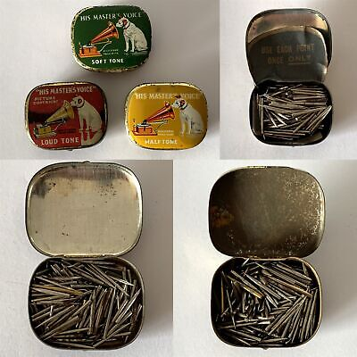 3x HIS MASTERS VOICE Gramophone Needle Tins + Contents Half, Soft + Loud Tone #2