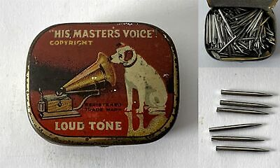 Antique HIS MASTERS VOICE Loud Tone Gramophone Phonograph Needle Tin + Contents