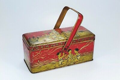 Vintage French 1930's Tin with Handle - Children on the Beach - Art Deco