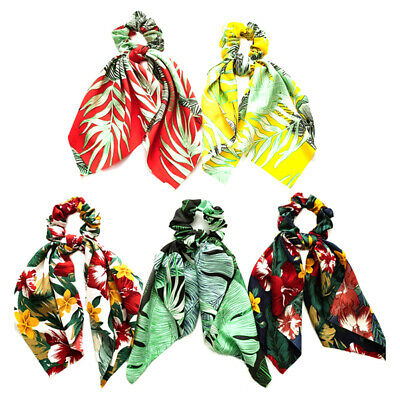 DIY Bow Streamers Elastic Hair Scrunchie Knotted Ribbon Ponytail Scarf Hair Tie