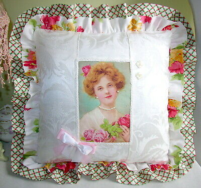 "New Decorative Pillow ""Shabby Rose Cheeks"" Pink/Pearls/Victorian"